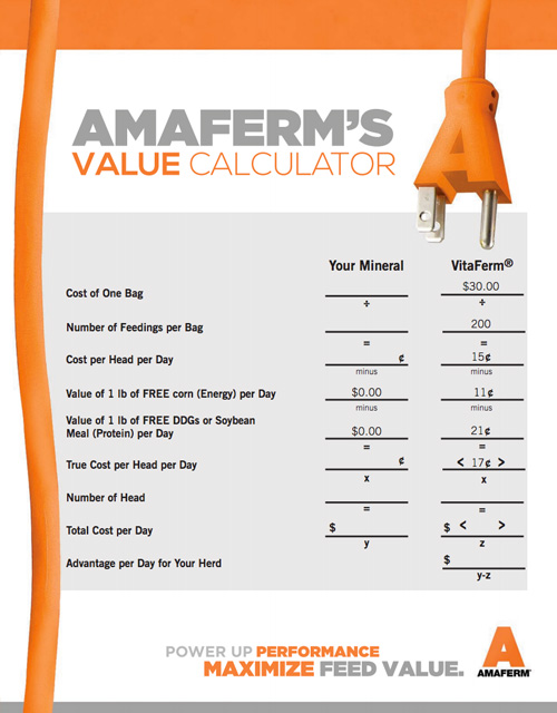 Amaferm Value Calculator
