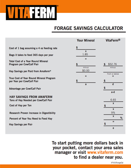 Forage Savings Calculator